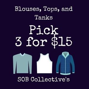 Tops - Excludes vintage and designer items.